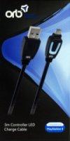 USB LADER KABEL 3 METER TIL PS4 CONTROLLER - ORB