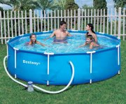 badebassin med fast kant og pumpe - 305 cm - Bade Og Strandlegetøj