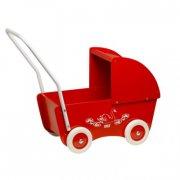 krea rød dukkevogn - klassisk dukkevogn i træ - Dukker