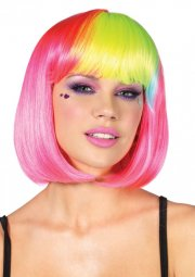leg avenue - pop rainbow bang bob wig - pink (a1986) - Udklædning Til Voksne