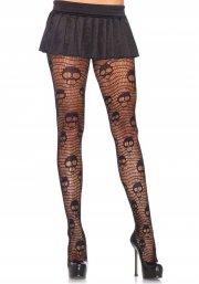leg avenue - net strømpebukser med screaming skull - Udklædning Til Voksne