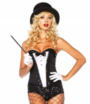 leg avenue - sequin texudo corset - large (265403007) - Udklædning Til Voksne