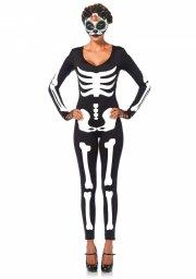 leg avenue - skeleton catsuit - large (8534603007) - Udklædning Til Voksne