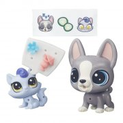 littlest pet shop - pets in the city - delaware french and fiala mauve (b7753) - Figurer