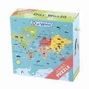 mudpuppy jumbo puslespil - verdenskort - 25 brikker - Brætspil