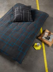 neon living sengetøj / sengesæt - 200 x 200 cm - grå/blå - Til Boligen