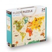 petit collage - gulvpuslespil med verdenskort, 24 brikker - Brætspil