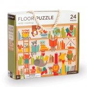 petit collage - gulvpuslespil med vilde dyr på biblioteket, 24 brikker - Brætspil