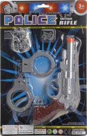 politisæt - pistol, håndjern og skilt - Rolleleg