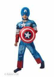 captain america kostume deluxe - 7-8 år - rubies - Udklædning