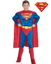 superman kostume til børn - inkl. brystmuskler - large - rubies - Udklædning