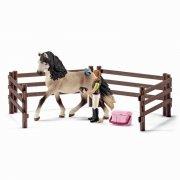 schleich - en verden af heste - hestepleje sæt, andalusisk - Figurer