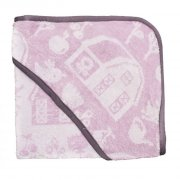 sebra babyhåndklæde / børnehåndklæde med hætte - farm - rosa - Babyudstyr