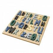 sebra - alfabet puslespil i træ - blå - Brætspil