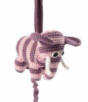 smallstuff hæklet uro med musik - elefant - rosa - Babyudstyr