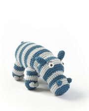 smallstuff hæklet bamse / hæklet flodhest - blå - Bamser