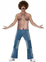 smiffys - 70's hairy chest sleeveless top - medium (43514m) - Udklædning Til Voksne