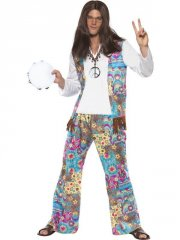 smiffys - groovy hippie costume - medium (38628m) - Udklædning Til Voksne