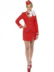 smiffys - trolley dolly costume red - medium (33873m) - Udklædning Til Voksne