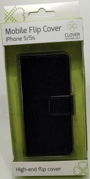 iphone 5/5s - flip cover - sort - clover - Mobil Og Tilbehør