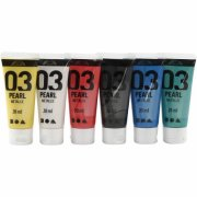 akrylmaling - metallic - assorterede farver - 03 - 6x20ml - a-color - Kreativitet