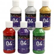 akrylmaling - glimmer - assorterede farver - 04 - 6x120ml - a-color - Kreativitet