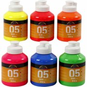 akrylmaling - neon farver - a-color 05 - 6x500ml - Kreativitet