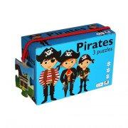 puslespil til børn med pirater - 3 stk - Brætspil