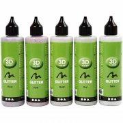 glimmer maling - tyktflydende - 5 stk farver 100ml - 3d liner - Kreativitet