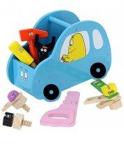 barbapapa legetøj - legetøjsbil i blåt træ - værktøjsbil i træ - Køretøjer Og Fly