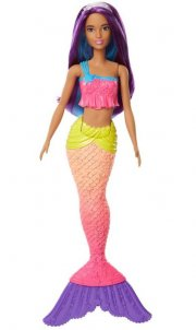 barbie havfrue dukke - lilla / gul - Dukker