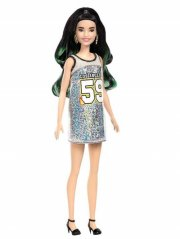 barbie fashionistas dukke - sort og grønt hår med los angeles kjole - Dukker