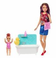 barbie dukker - skipper babysitter med badekar og baby - Dukker