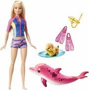 barbiedukke - barbie svømmer med delfin - Dukker