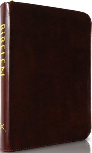 bibelen på hverdagsdansk, brun m/ lynlås - bog