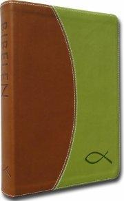 bibelen på hverdagsdansk, brunt/grønt skind - bog