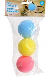 3pak skum tennisbold / tennisbolde - lyserød/gul/blå - Udendørs Leg