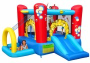 bouncy castle hoppeborg - 4 i 1 hoppepude med boldrum, basket og rutchebane - Udendørs Leg