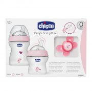 gaveæske: chicco sutteflasker - lyserød / hvid - Babyudstyr