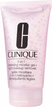 clinique 2-in-1 cleasing micellar gel + light makeup remover - Hudpleje