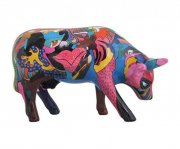 cow parade ko - partying with pi-cow-sso - mellem - 15,5x10cm - Til Boligen