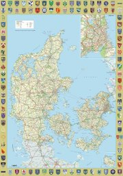 danmarkskort plakat med byvåbenskjold - et smukt klassisk danmarkskort - Til Boligen