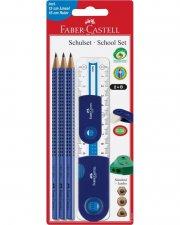 faber castell skrivesæt - 6 dele - blå - Skole