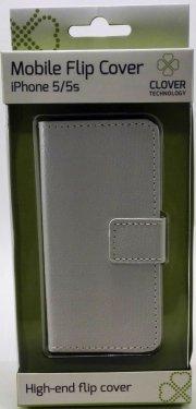 iphone 5/5s flip cover - hvid - clover - Mobil Og Tilbehør