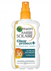 garnier ambre solaire clear protect spray spf 30 - 200 ml. - Hudpleje