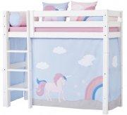 hoppekids forhæng til mellemhøj seng - 70 x 160 cm - unicorn - Til Boligen