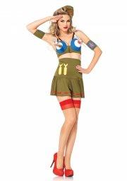 leg avenue - bomber girl kostume - large (42-44) - Udklædning Til Voksne