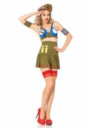 leg avenue - bomber girl kostume - medium (38-40) - Udklædning Til Voksne