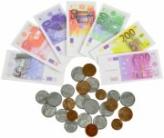 legepenge - euro mønter og sedler - Rolleleg