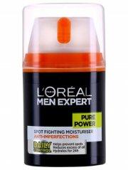 ansigtsrens til mænd - l'oréal pure power spot fighting moisturiser - 50 ml. - Hudpleje